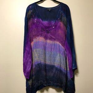 4XL v neck long sleeve tye dye tunic